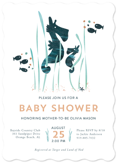baby shower invitations - Sweet Seahorses by Jen H