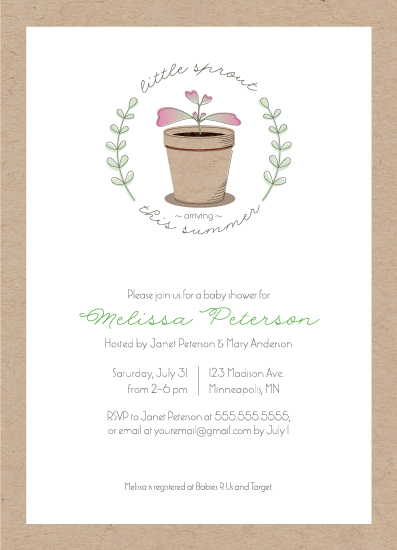 baby shower invitations - Cute Little Sprout by Kimiyo Prints