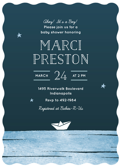 baby shower invitations - Paper Boat by Lorent and Leif
