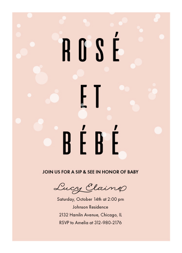 baby shower invitations - Rosé Et Bébé by Julie Hebert
