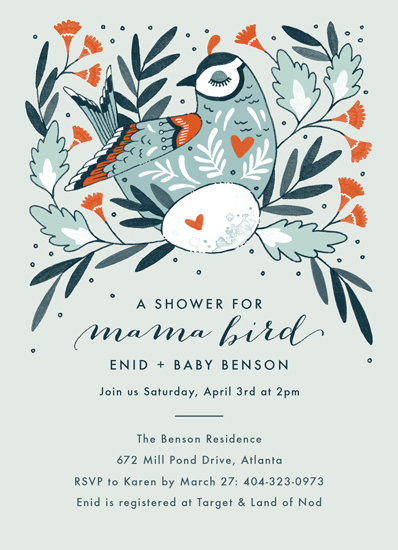 baby shower invitations - Mama Bird by Paper Raven Co.