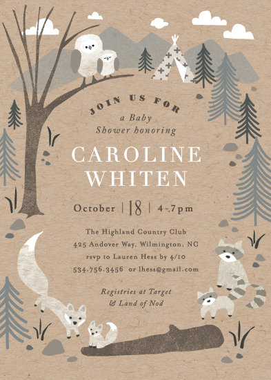 baby shower invitations - Woodland's welcome by Jennifer Wick