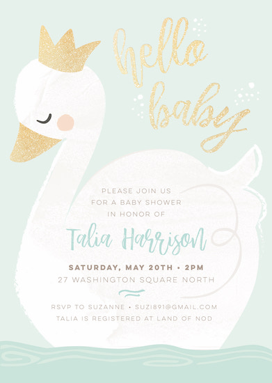 baby shower invitations - swan lake by peetie design