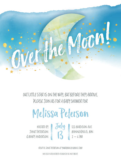 baby shower invitations - Over the Moon! by Kimiyo Prints