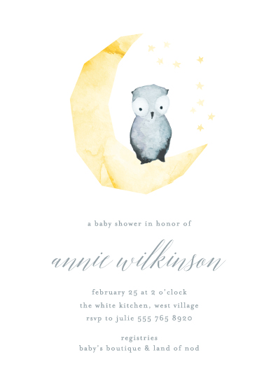 baby shower invitations - Hand painted Moon Owl by Phrosne Ras