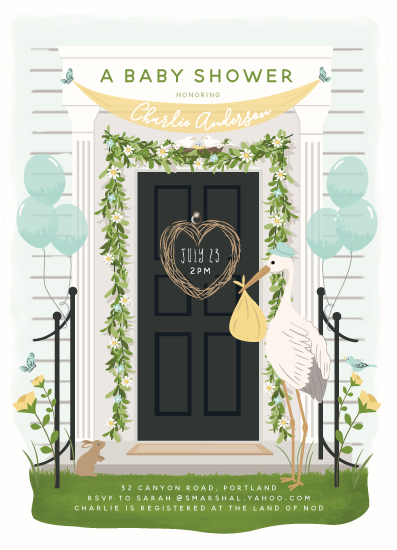 baby shower invitations - Front door delivery by Susan Moyal
