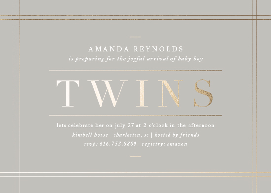 baby shower invitations - linen edge by Amy Kross