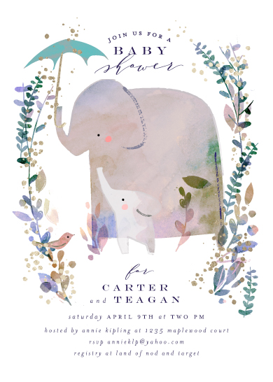 baby shower invitations - Elephant Shower by Lori Wemple