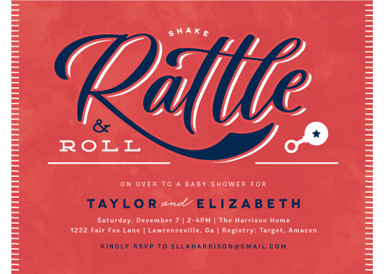baby shower invitations - Rattle and Roll by Kristen Smith
