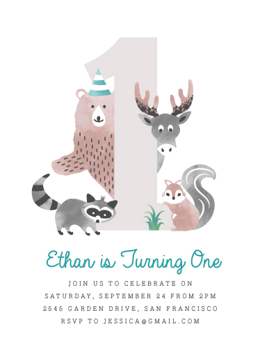 birthday party invitations - Woodland by Kampai Designs