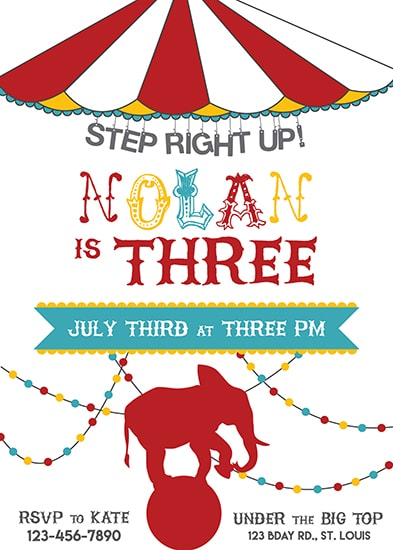 birthday party invitations - Step Right Up! by Kate Dorsey