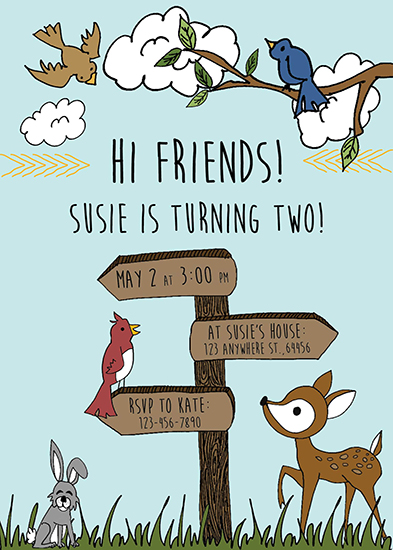 birthday party invitations - Woodland Friends! by Kate Dorsey