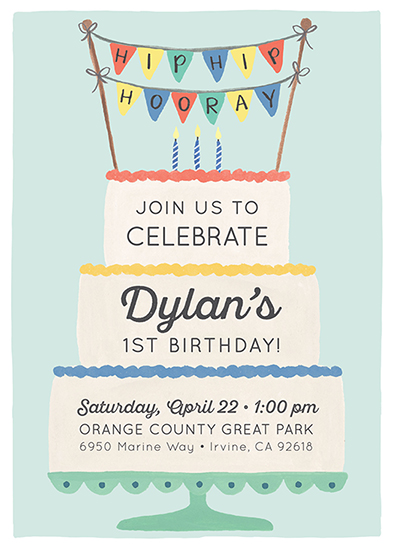 birthday party invitations - Hip Hip Hooray Cake by LoveLight Paper