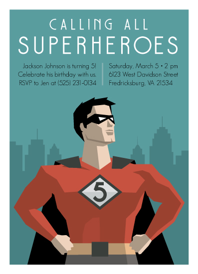 birthday party invitations - Calling All Superheroes by Jessica Prout