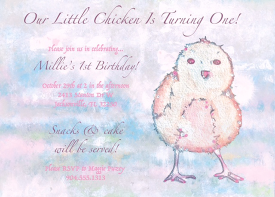 birthday party invitations - Chicken Birthday by Maggie Puzey