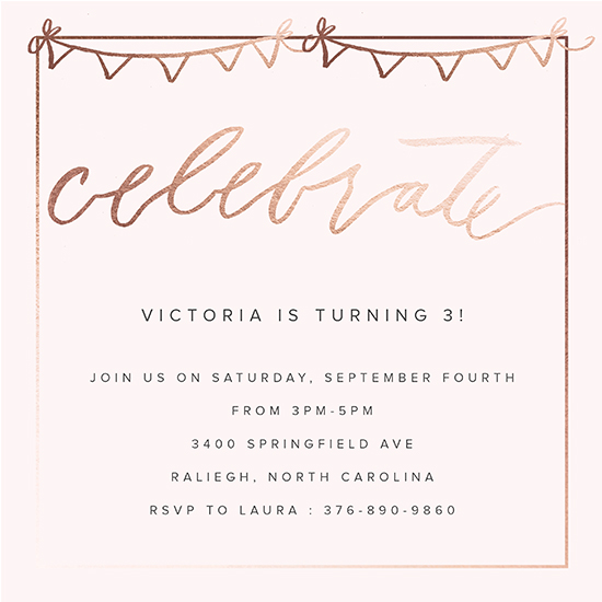 birthday party invitations Rose Gold Birthday Party at Mintedcom