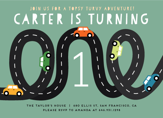 birthday party invitations - Little Racer by Jennifer Lew