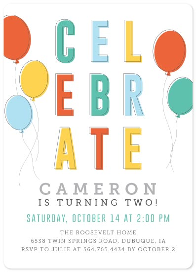 birthday party invitations - C E L E B R A T E by Mabe Design Co.