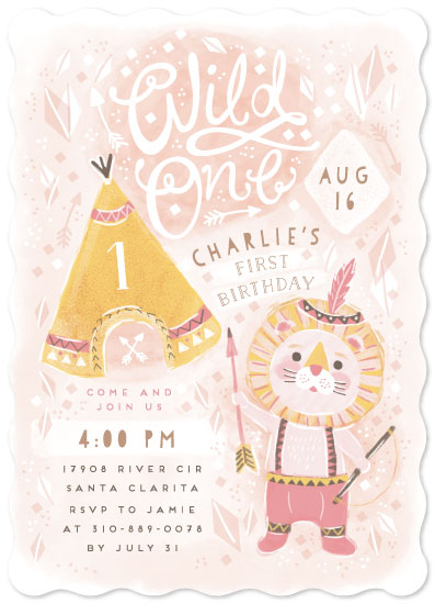 birthday party invitations - Lion wild one by iamtanya