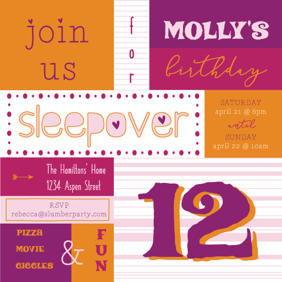 birthday party invitations - Festive Slumber by Karena Anderson