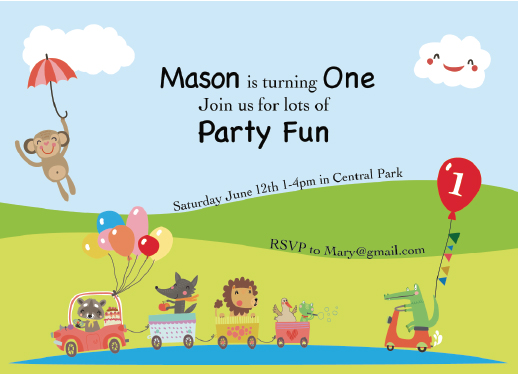 birthday party invitations - Animal Train by Lisa Rodgers