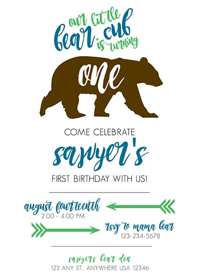 birthday party invitations - Little Bear Cub by Kate Dorsey