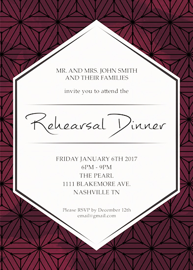 party invitations - Geo Rehearsal Dinner by Flume Design