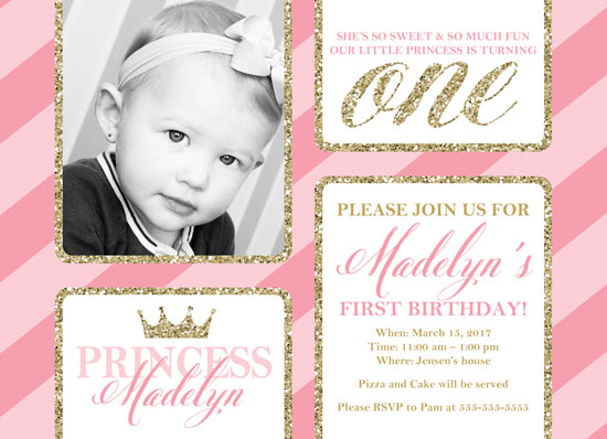 birthday party invitations - Princess First Birthday Invitations by Willow Lane Paper