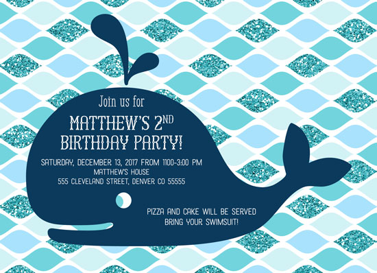 birthday party invitations - Whale Pool Party Birthday Invitations by Willow Lane Paper
