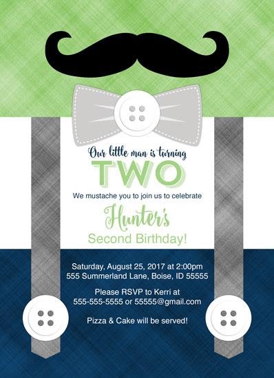 birthday party invitations - Mustache Little man birthday party invitations by Willow Lane Paper