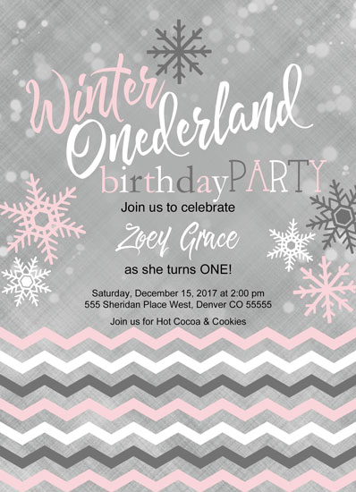 birthday party invitations - Winter ONEderland Birthday Party Invitation by Willow Lane Paper
