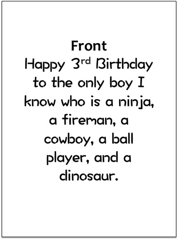 greeting card - 3rd birthday by SHELLEY COOK