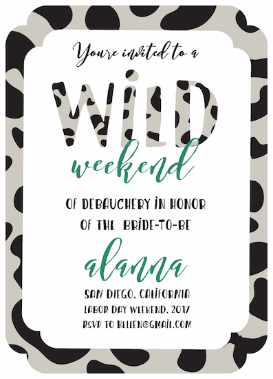 party invitations - Wild Weekend by Natalia