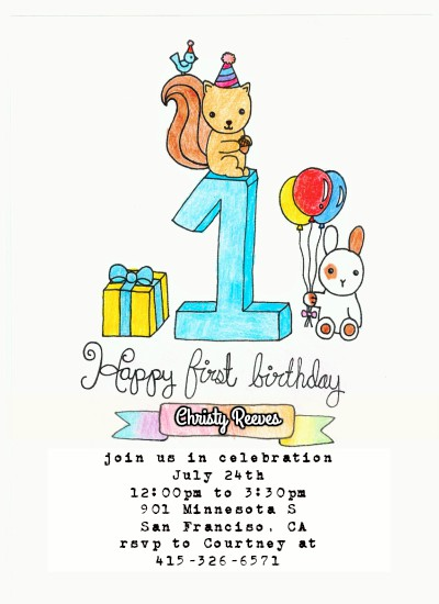 birthday party invitations - Animals! by Grace Z