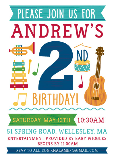 birthday party invitations - MUSIC TIME! by Kristen Cavallo