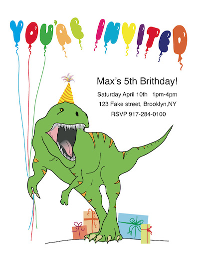 birthday party invitations - Party Dinosaur by Rachel Curtis