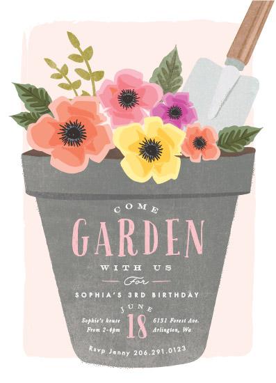 Birthday party invitations garden party flower pot at minted birthday party invitations garden party flower pot by karidy walker stopboris Choice Image