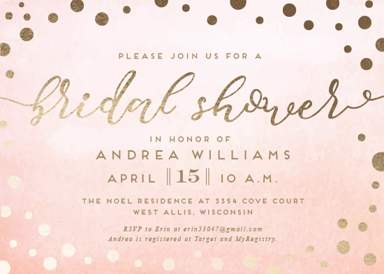 party invitations - Peachy Pink Shower by Anna Elizabeth Whinnery