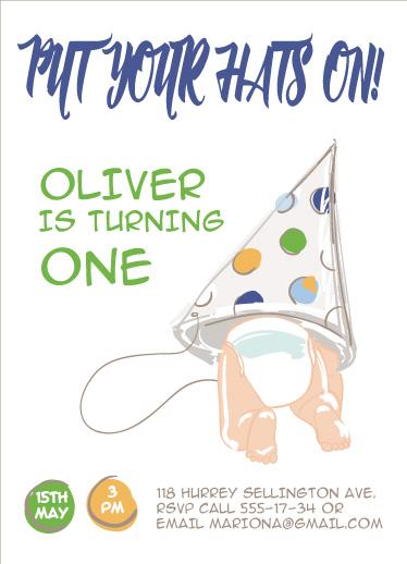 birthday party invitations - Put your hats on! by Valentina Taligarova