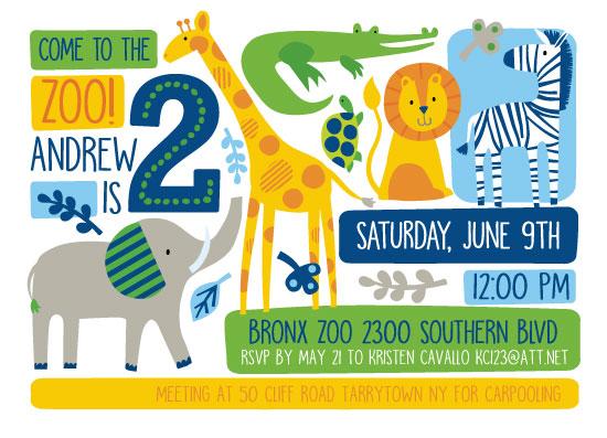birthday party invitations - Bright Zoo by Kristen Cavallo