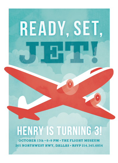 birthday party invitations - ready, set, jet! by Susan Asbill
