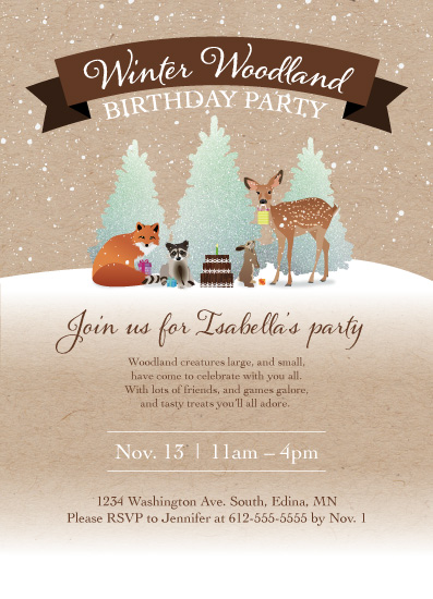 birthday party invitations - Winter Woodland Birthday by Kimiyo Prints