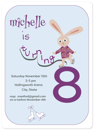 birthday party invitations - Skating Birthday Bunny by eva jones