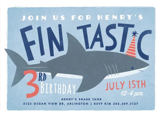 birthday party invitations - shark tank by Karidy Walker