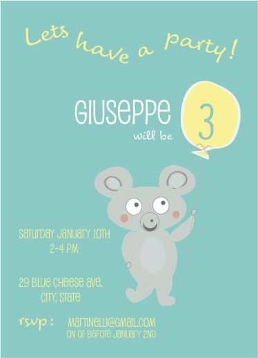 birthday party invitations - cute little mouse by eva jones