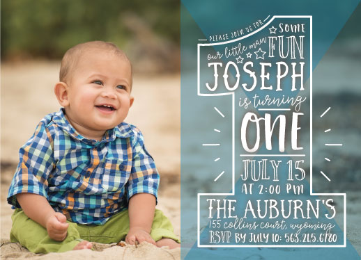 birthday party invitations - Number 1 Boy by Ashley Konzen