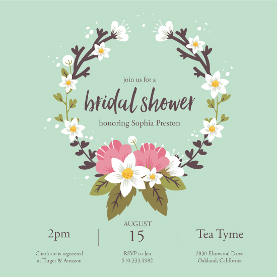 party invitations - Spring Wreath by Annie Dickerson
