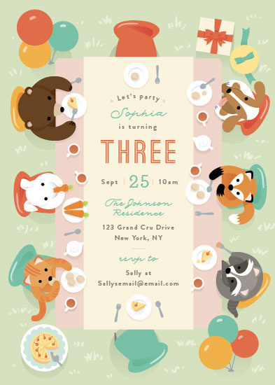 birthday party invitations - Party Table by Four Wet Feet Studio