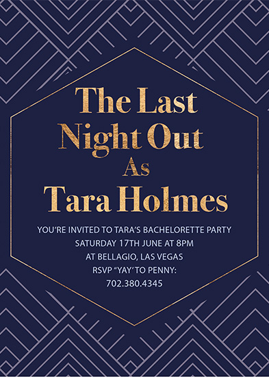 party invitations - Delano Gold by Natalie Drage