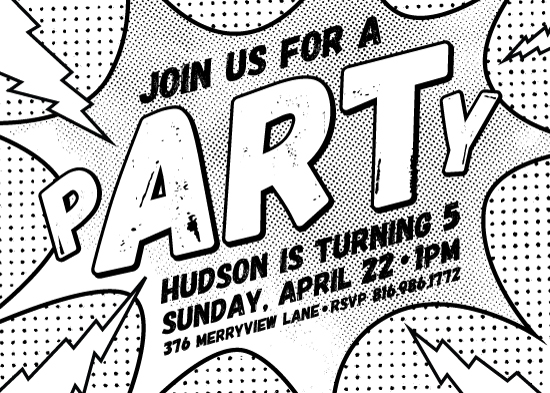 birthday party invitations - Pop Art Coloring Book P-ART-Y by Champagne Paper Co.